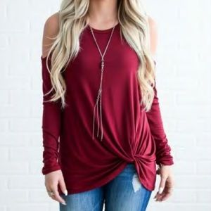 Tops - Cold Shoulder Knotted Top